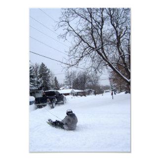 el snowtubing. diversión del invierno invitacion personal