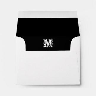 El sobre blanco inicial del monograma, ennegrece