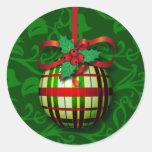 El sobre de la tarjeta de Navidad sella los regalo Etiqueta Redonda