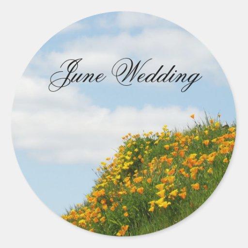 El sobre del boda de junio sella la amapola del pegatinas redondas