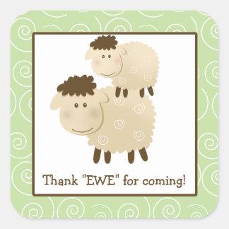 El sobre del cuadrado del cordero de las ovejas de calcomanía cuadradas personalizadas