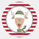 El sobre del día de fiesta de Rudolph sella a los Etiquetas Redondas