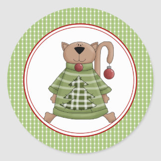 El sobre del gato del gatito del navidad sella a etiqueta redonda