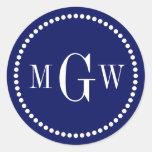 El sobre del monograma de la marina de guerra etiqueta redonda