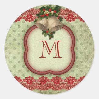 El sobre del monograma del navidad sella a los pegatina redonda