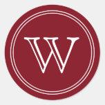 El sobre del monograma del vino de Borgoña sella Pegatinas Redondas