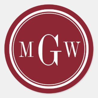 El sobre del monograma del vino de Borgoña sella Pegatina Redonda