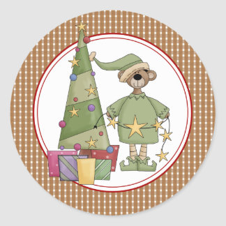 El sobre del navidad de Beary sella a los Pegatina Redonda