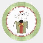 El sobre del perrito del navidad sella a los pegatinas redondas