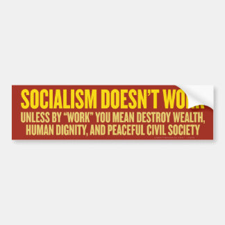 El socialismo no trabaja a la pegatina para el par etiqueta de parachoque