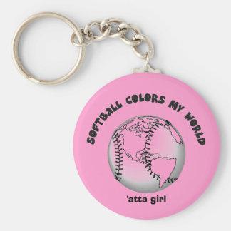 El softball colorea mi mundo llavero personalizado