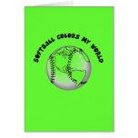El softball colorea mi mundo tarjetón