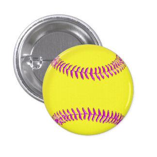 El softball de encargo amarillo fija los hilos ros pin redondo de 1 pulgada