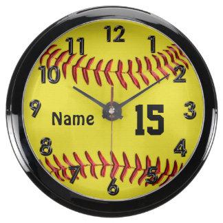 El softball personalizado registra la decoración ú relojes acuario