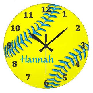 El softball registra su NOMBRE, fondo, COLORES de Reloj Redondo Grande