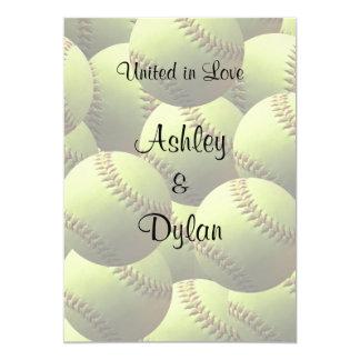 El softball se divierte el boda del tema del boda invitación 12,7 x 17,8 cm