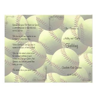 """El softball se divierte programa del boda del tema folleto 8.5"""" x 11"""""""