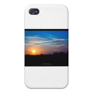 El sol 011 - puesta del sol en la ciudad iPhone 4 cárcasas