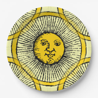 El sol amarillo irradia el dibujo lineal de la plato de papel 22,86 cm