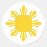 el sol   cosechado Filipinas, Filipinas Etiqueta Redonda