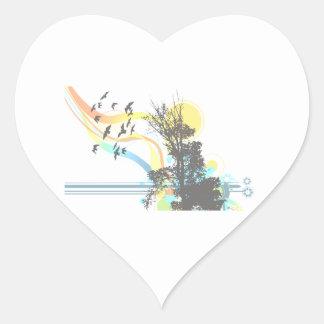 El sol del pájaro del árbol se descoloró pegatina en forma de corazón