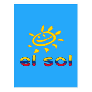 El Sol The Sun in Colombian Summer Vacation Postcard