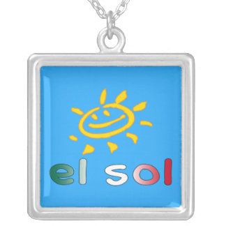 El Sol The Sun in Mexican Summer Vacation Square Pendant Necklace