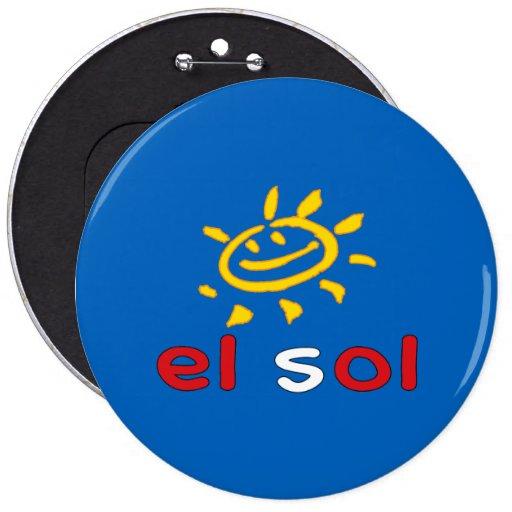 El Sol - The Sun in Peruvian Summer Vacation Button