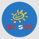 El Sol - The Sun in Peruvian Summer Vacation Round Stickers