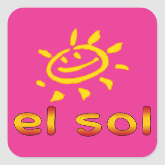 El Sol The Sun in Spanish Summer Vacation Square Sticker