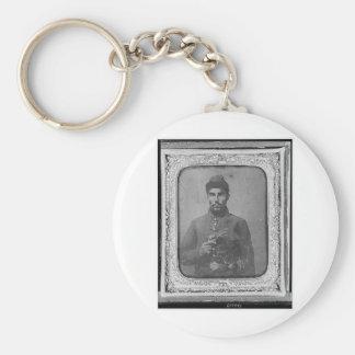 El soldado americano negro original llavero redondo tipo pin
