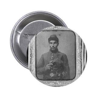 El soldado americano negro original pin redondo de 2 pulgadas