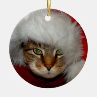 """El """"soldado de caballería papel de lija del gato"""" adorno navideño redondo de cerámica"""