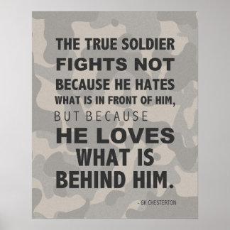 El soldado verdadero ama el poster, militar, GK Ch Póster