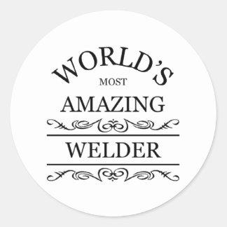 El soldador más asombroso del mundo pegatina redonda