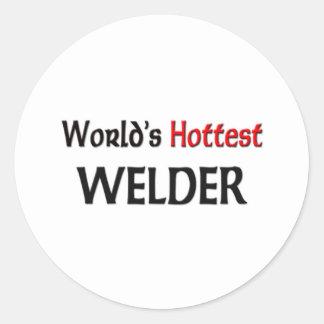 El soldador más caliente del mundo pegatina redonda