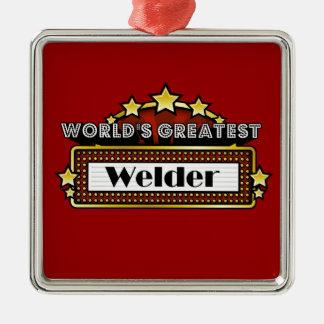 El soldador más grande del mundo adorno navideño cuadrado de metal