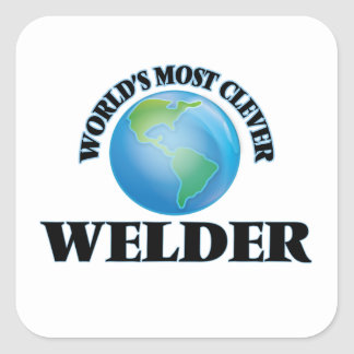 El soldador más listo del mundo pegatina cuadrada