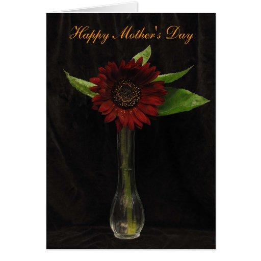 El solo día de madre rojo del girasol felicitación