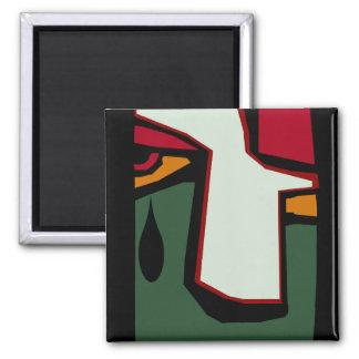 El solo rasgón de la lágrima del cubismo cubista imán cuadrado