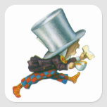 El sombrerero enojado de Alicia en el país de las Calcomania Cuadradas Personalizadas