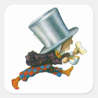El sombrerero enojado de Alicia en el país de las Pegatina Cuadrada