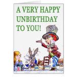 ¡El sombrerero enojado dice, A muy feliz cumpleaño Tarjeta De Felicitación