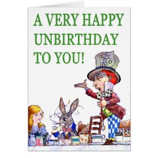 ¡El sombrerero enojado dice, A muy feliz cumpleaño Felicitación