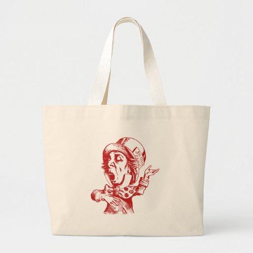 El sombrerero enojado entintó rojo bolsa tela grande