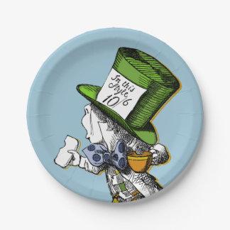 El sombrerero enojado plato de papel de 7 pulgadas