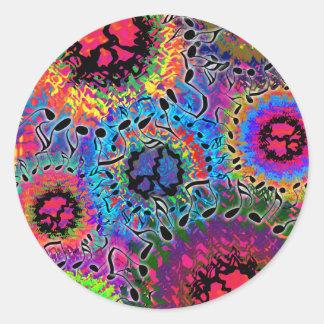 El sonido colorea psicodélico etiquetas redondas