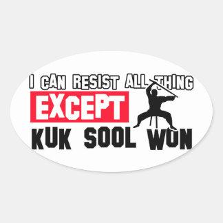 el sool del kuk ganó diseño marcial pegatina ovalada