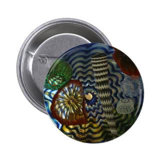 El soplar de cristal creativo pin redondo de 2 pulgadas