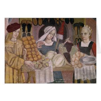El soporte de los vendedores de la fruta tarjetas
